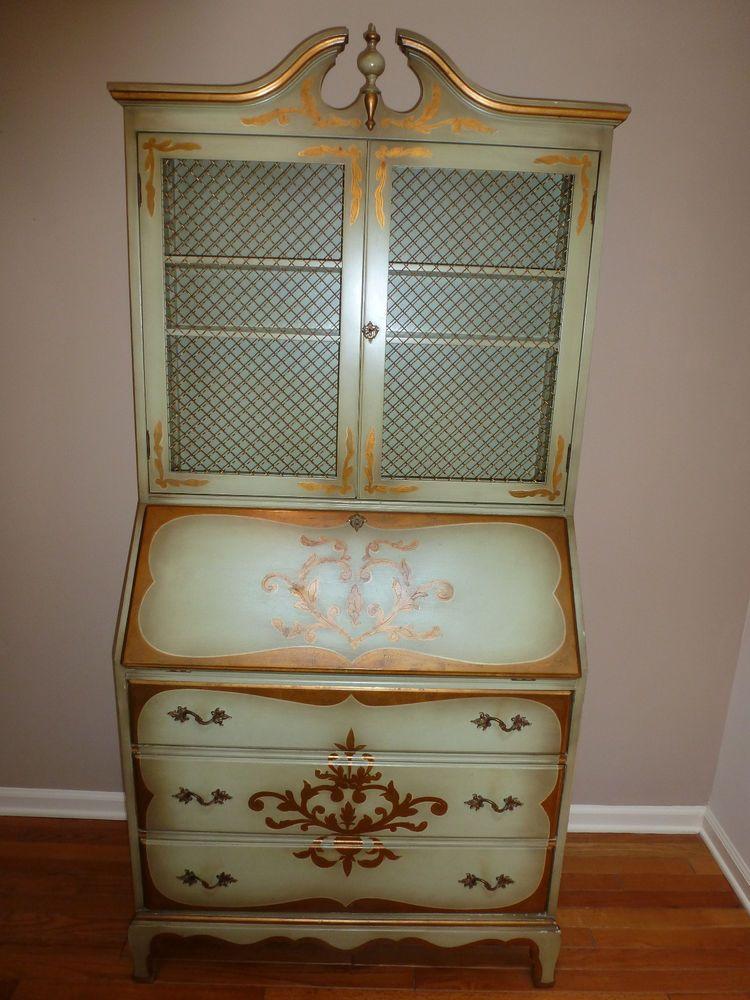 Antique Hand Painted Secretary Desk - Antique Hand Painted Secretary Desk Painted Secretary Desks And Crafts
