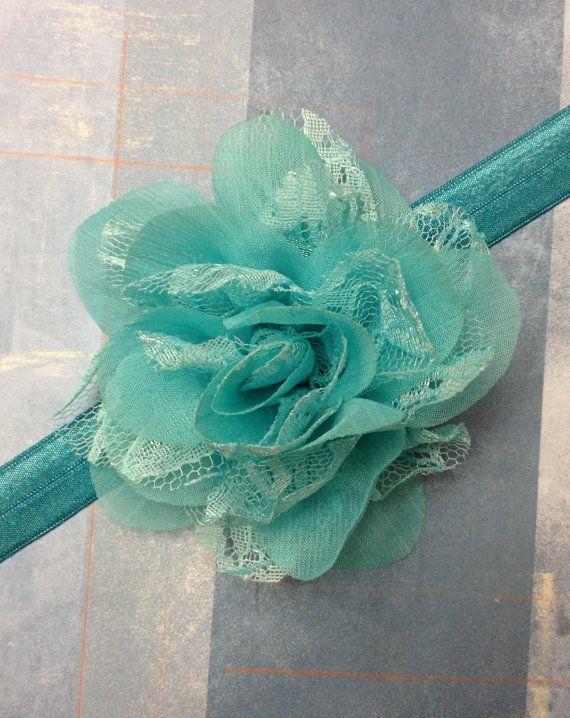 Turquoise Chiffon & Lace Headband by ThePetitBowtique on Etsy, $7.00