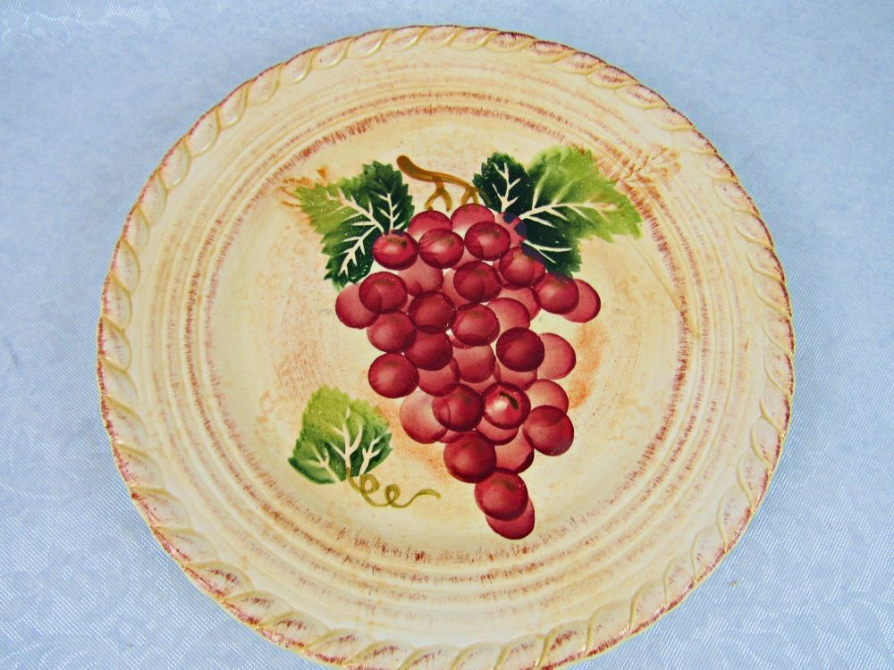 Tabletops Unlimited Vintage Burgundy Grapes Design 8\  Salad Plate Dinnerware #TabletopsUnlimited : grape themed dinnerware - pezcame.com
