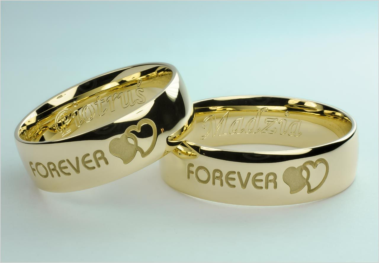 Obraczki Splecione Serca I Tekst Forever Wedding Rings Couple