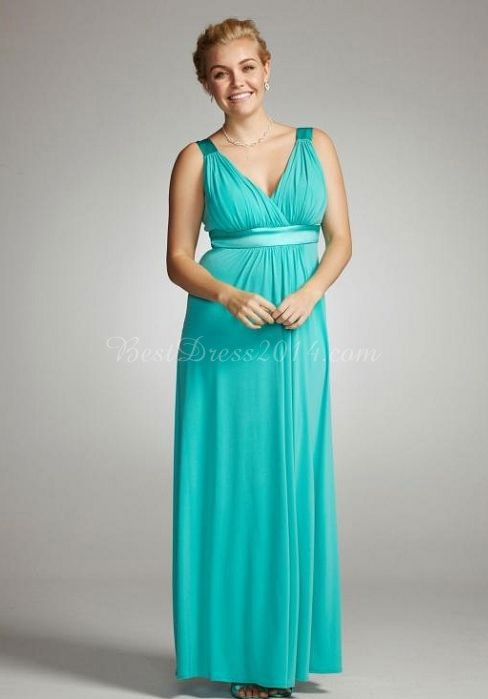 Ribbon V Neck Chiffon Long Plus Size Vintage Bridesmaid Dress