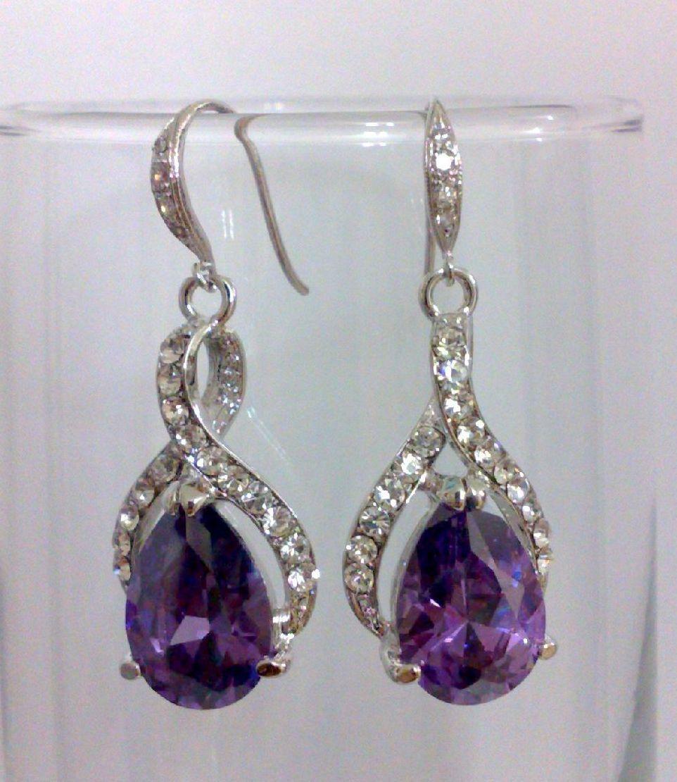 Purple Amethyst Silver Bridal Earrings Swarovski Oval Teardrop Bridesmaids Wedding Jewelry Twirl