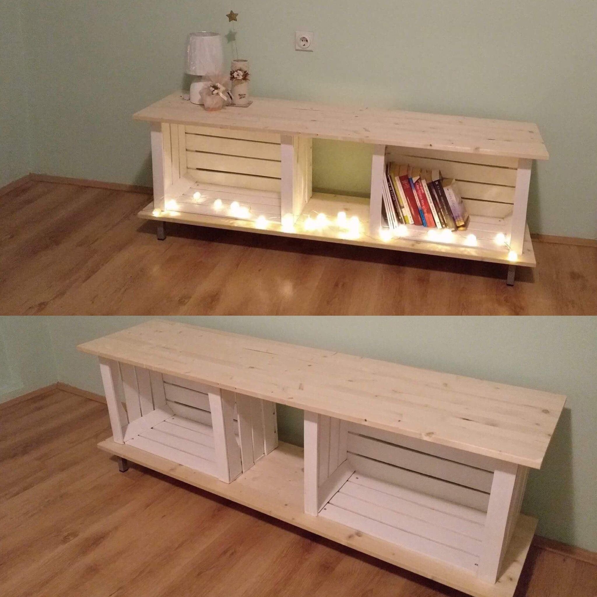 Our First Diy Project Wooden Crates Pinterest Inspired Tv Stand  # Meuble Tv Caisse A Pomme