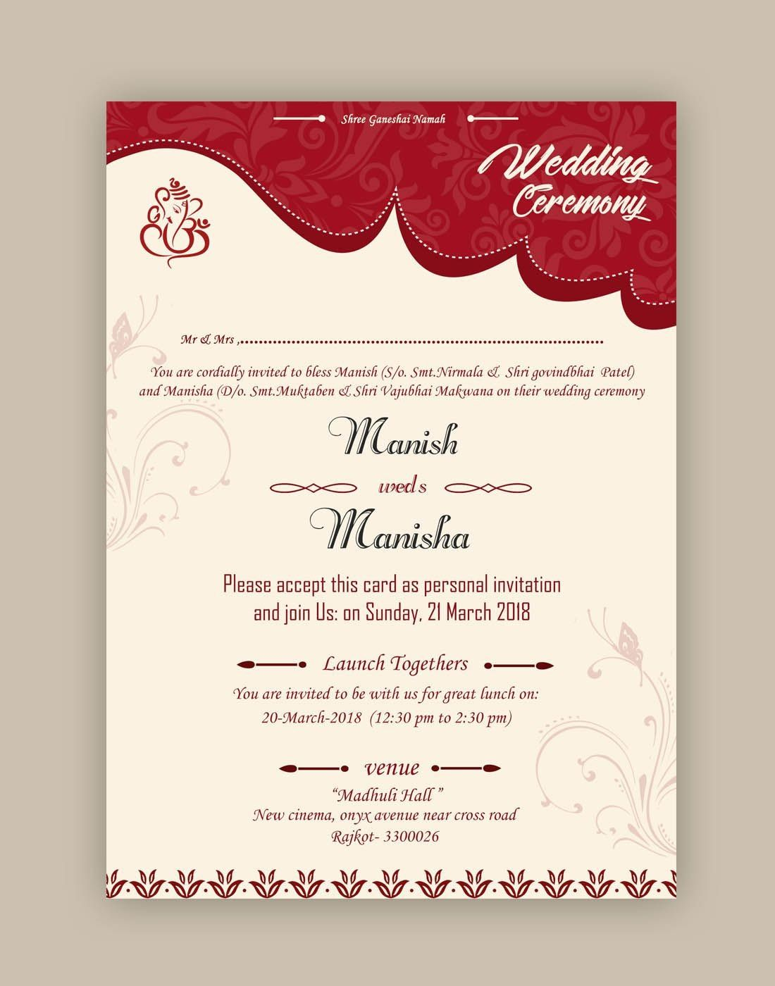 Free Wedding Card Psd Templates In Kankotri Vector Template