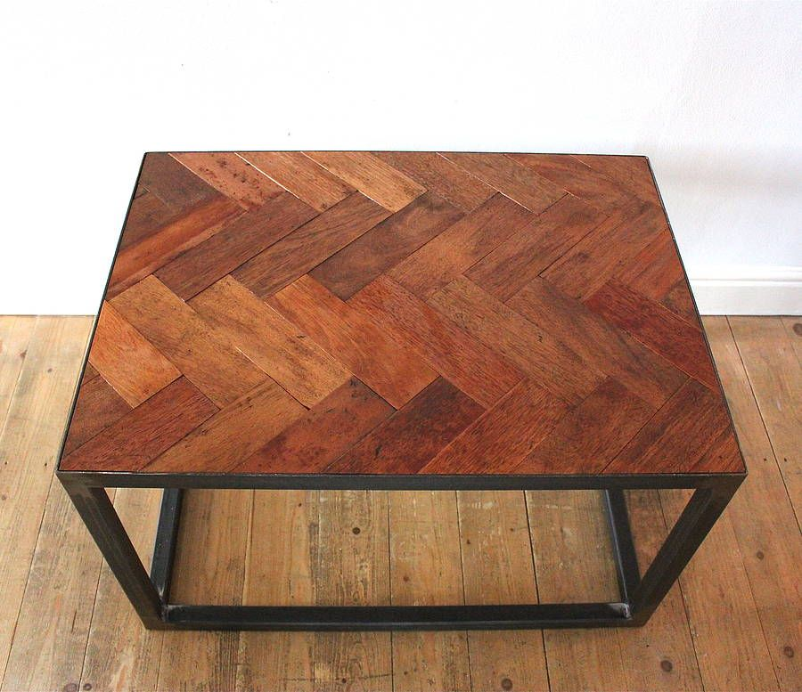 Parquet Steel Coffee Table: Mini Upcycled Parquet Floor Coffee Table