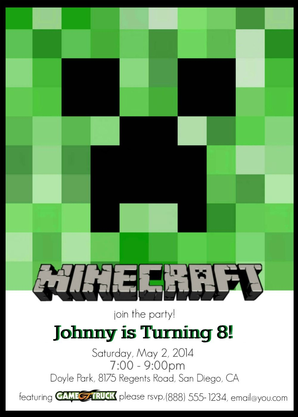 Make Your Own Custom Printable Minecraft Party Invitations – Custom Printed Birthday Cards