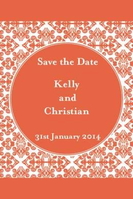 Fleur Delights Save the Date & Magnet in Koi Orange - DreamDay Invitations