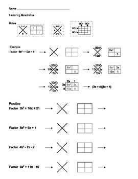 Factoring Quadratic Expressions Using X Box Method Quadratics