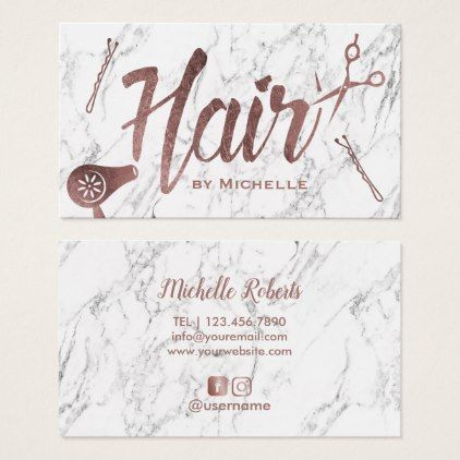 Hair Salon Rose Gold Typography White Marble Business Card | Zazzle.com