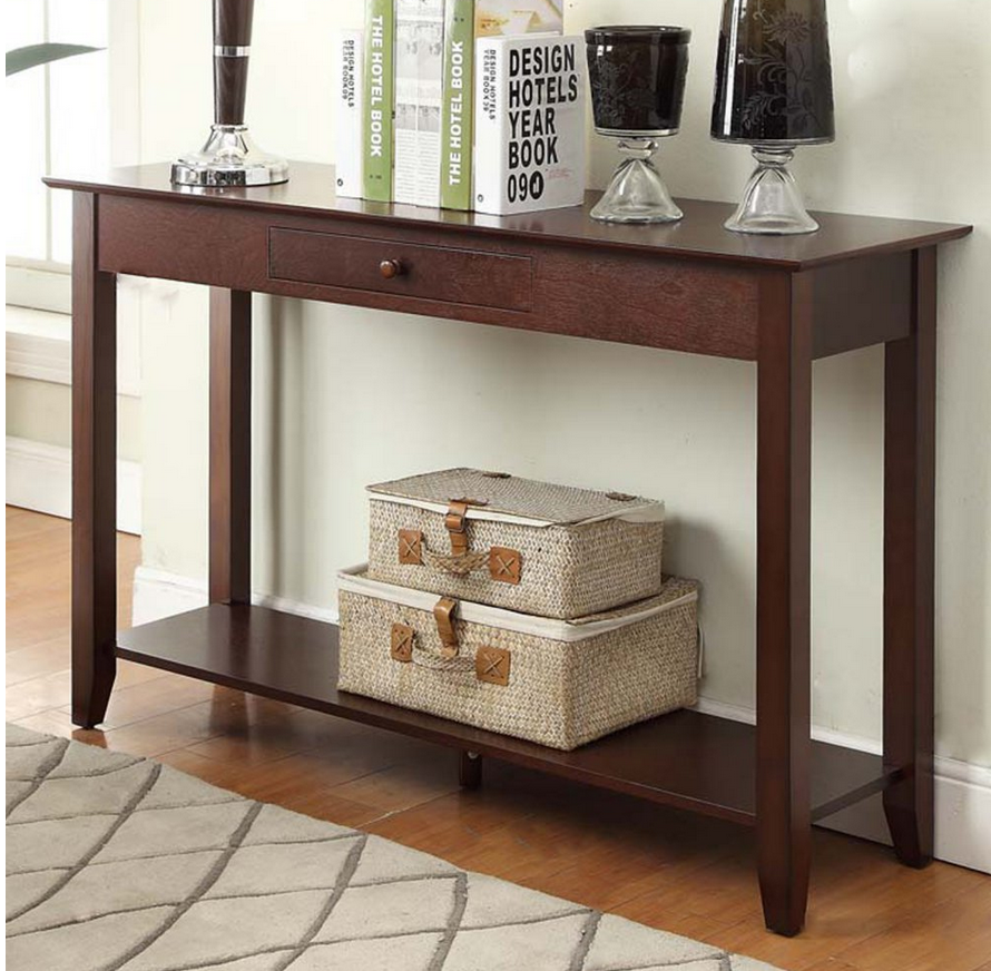 Solid Wood Console Table Espresso Console Table Living Room