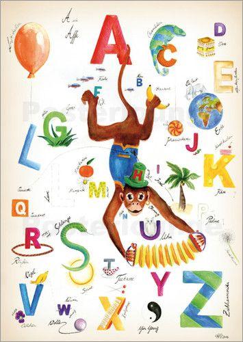 Poster-Leinwandbild-ABC-Alphabet-der-Tiere-Farben-und-anderer-H-Udes ...