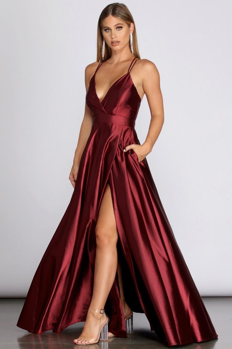 Priscilla Satin Evening Gown