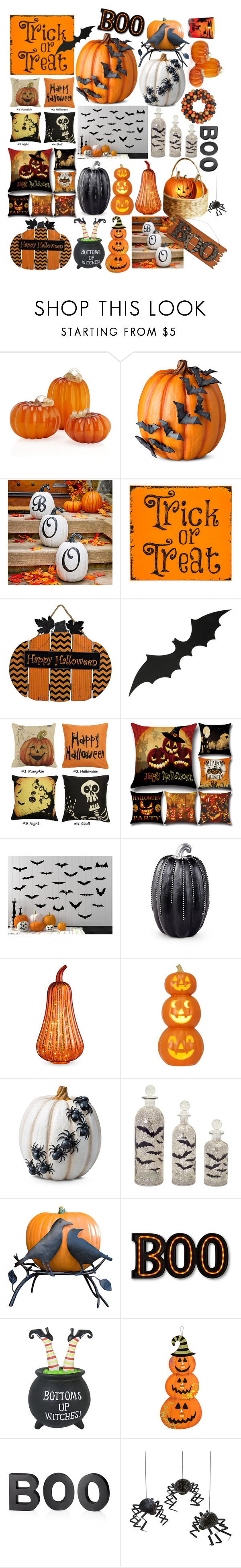 """""""Halloween decor"""" by marias1808 ❤ liked on Polyvore featuring interior, interiors, interior design, home, home decor, interior decorating, Improvements, Melrose International, Crate and Barrel and Meri Meri"""