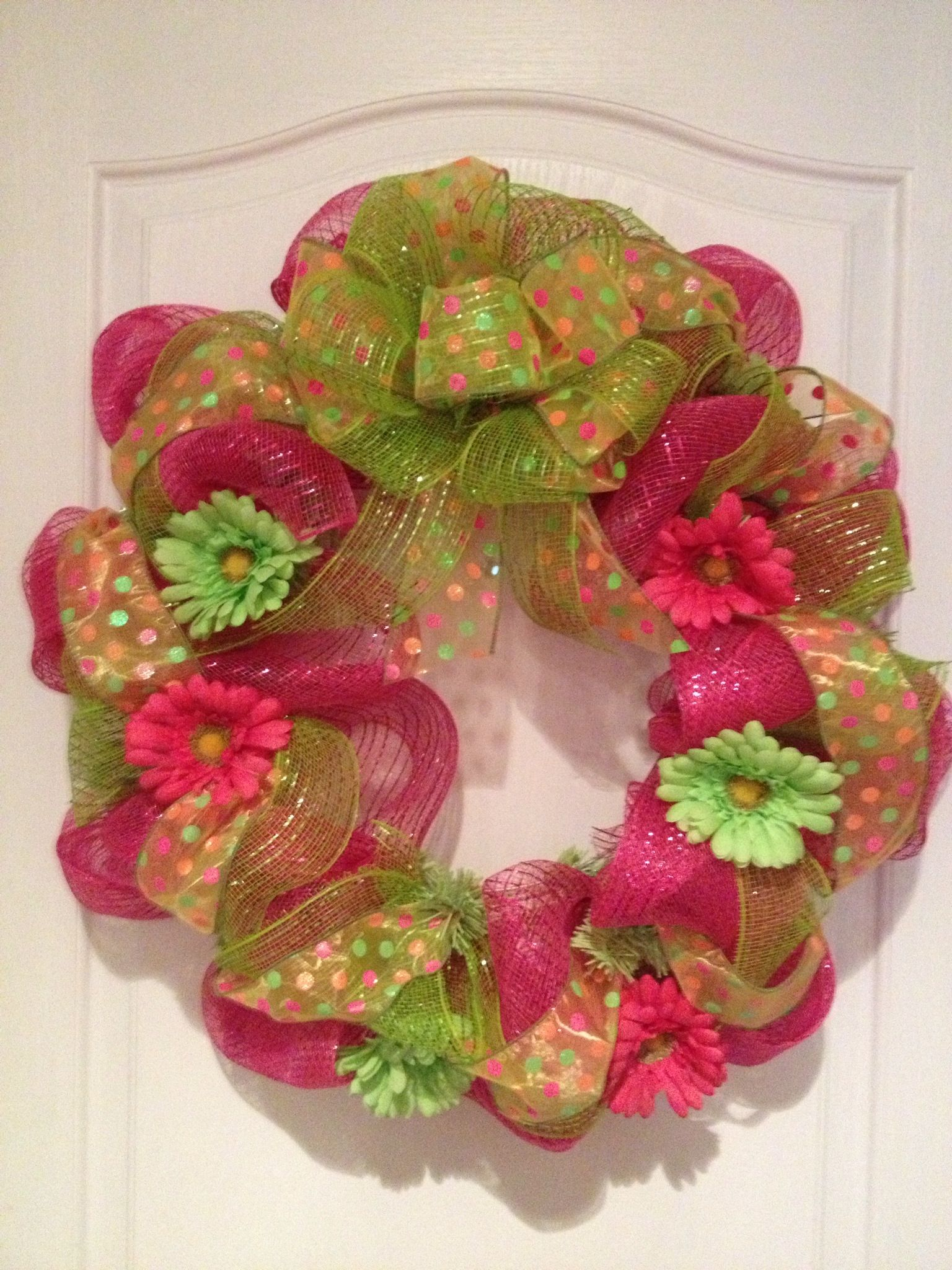 Spring Mesh Wreath I Did It Pinterest