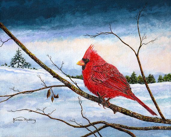 Cardinal Bird - Snow Painting - Winter Landscape - Red ...
