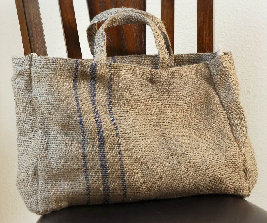 Burlap Tote Bag For Kindling By Fireplace