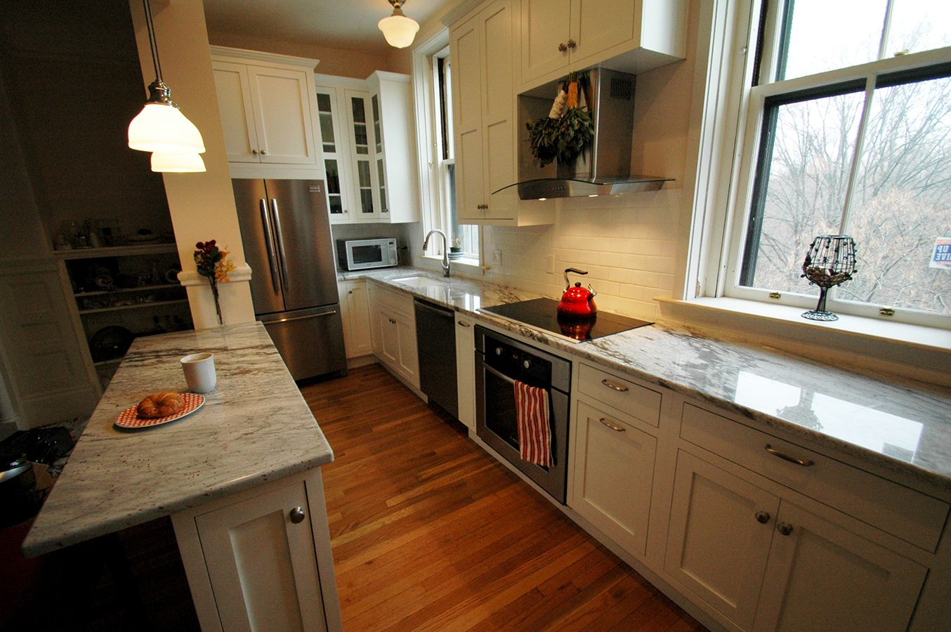 This Brookline Kitchen Remodel Features Before And After Pictures Of A  Small Galley Kitchen That Was Opened Up And Drastically Changed.