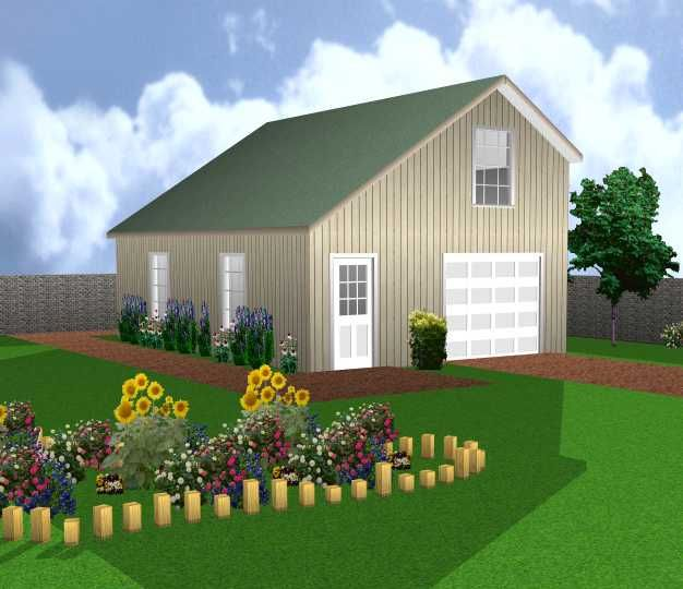 Saltbox Design Garage with Workshop and Loft PLANS 20 by 30 – Saltbox Garage Plans