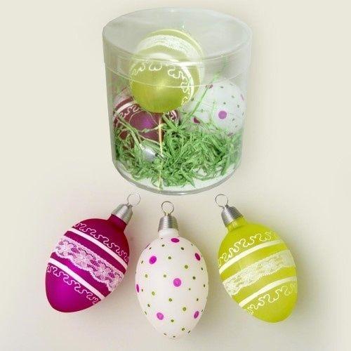 Easter eggs decorated green/rose/white 7 cm 3 pcs./tube - Christmas ornaments 2015, christmas balls 2015, christmas baubles 2015 Online shop Krebs Glas Lauscha