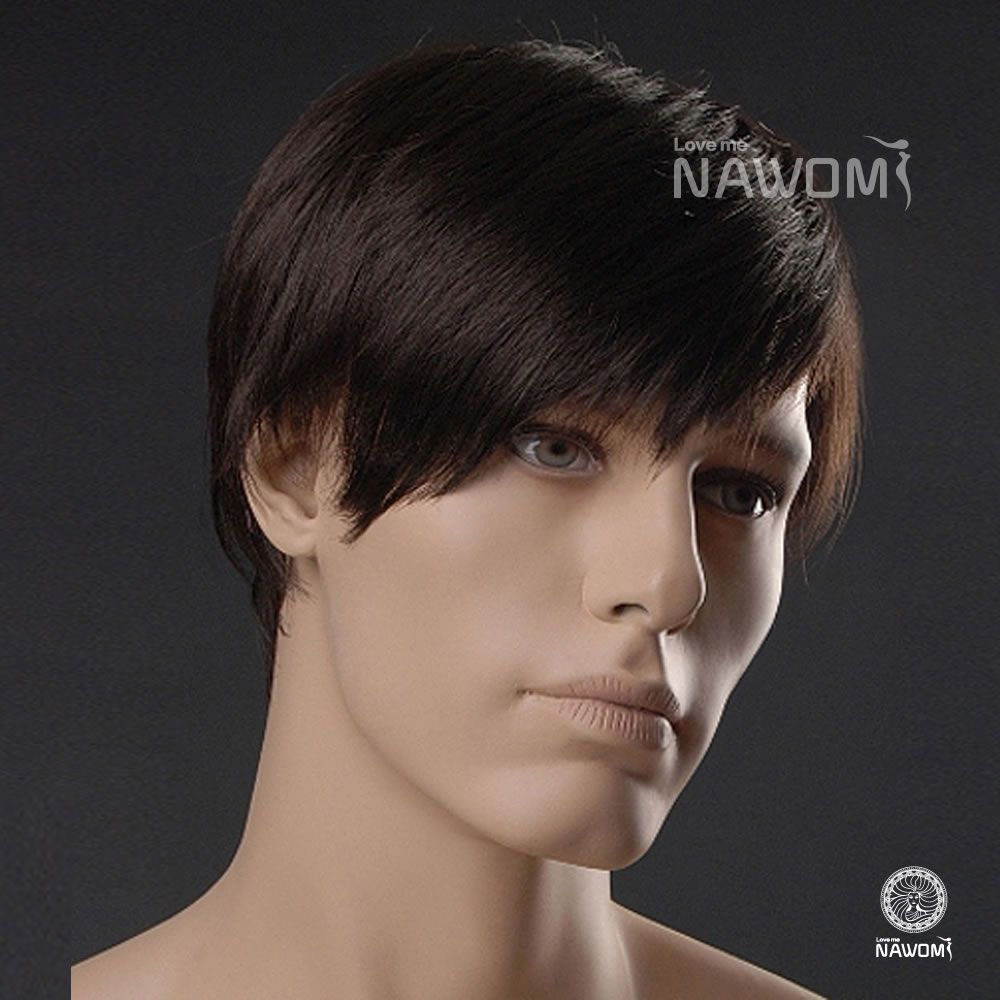 Man  s Wig Short Straight Wig Dark Brown Wig Best Synthetic Wig ... 476630e52632