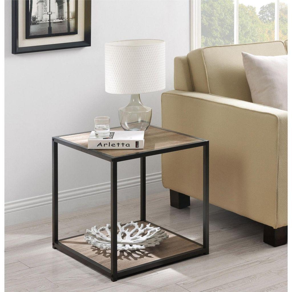 Best Square Modern End Table Walmart Sturdy Metal Frame Wood Grain