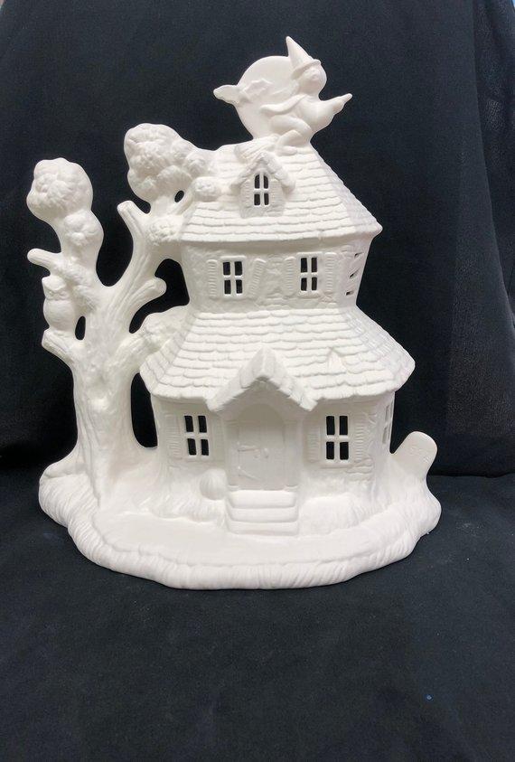 Ceramic Haunted House Ceramic Bisque House Bisque Ceramic House Halloween House Ready To P Ceramic Bisque Ceramic Houses Ceramic Painting