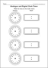 Blank analogue and digital clock times worksheets (SB9593 ...