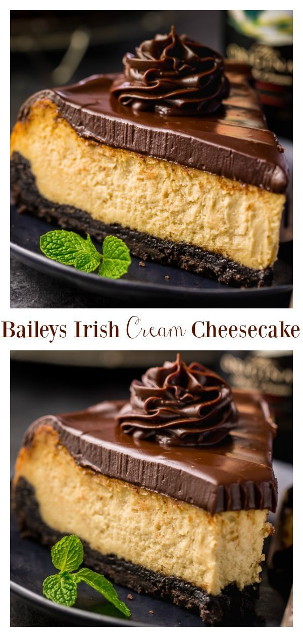 Baileys Irish Cream Cheesecake is perfect for St. Patrick's Day! #baileysirishcreamcheesecake #cheesecake #baileys #baileysirishcreamcake