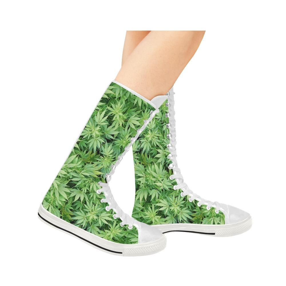 6fe06af55d670 Women's Green Weed Leaf Canvas Long Boots in 2019 | Womens Weed ...