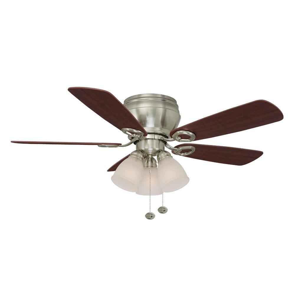Hampton bay whitlock in led indoor brushed nickel ceiling fan