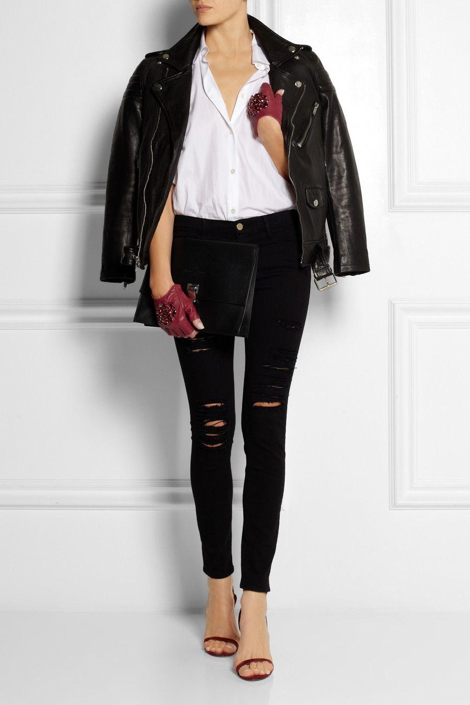 Karl Lagerfeld | Crystal-embellished fingerless leather gloves | NET-A-PORTER.COM