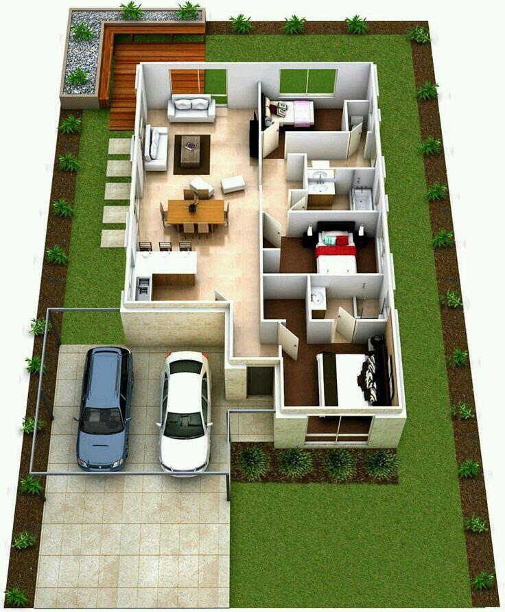 25 More 3 Bedroom 3d Floor Plans: Casa Pequena De 3 Quartos