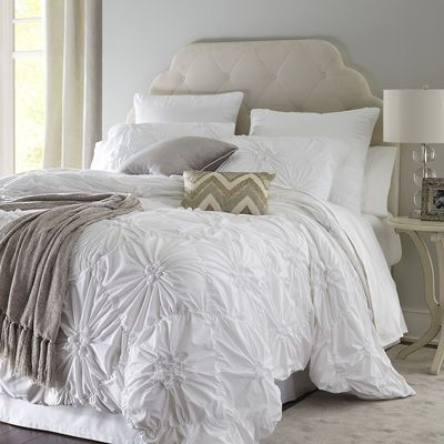 100 F Q Duvet Pier 1 Our Ruched Savannah Bedding Gathers Fresh 100 Cotton In A Pattern Of Flowers On A Fie White Duvet White Duvet Covers Bed Linens Luxury