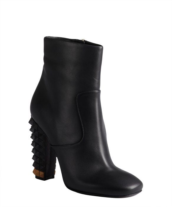 Fendi black leather studded heel side zip ankle boots