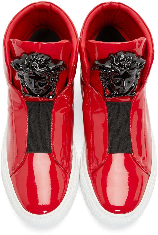 Versace Red Medusa High-Top Sneakers - statement shoes ...