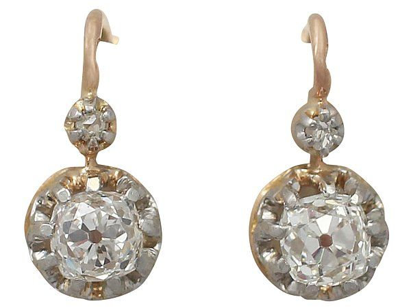 0 79 Ct Diamond And 18 Rose Gold Earrings Antique French Circa 1880 Sku