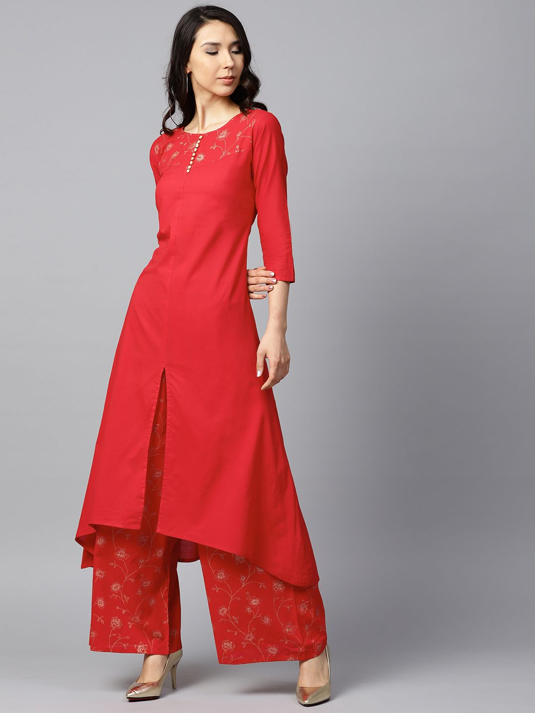 2ff138e0c4 Buy Nayo Women Red & Golden Solid Kurta With Palazzos - Kurta Sets for  Women 6618449 | Myntra