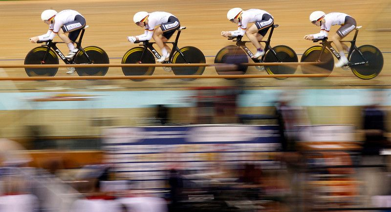 Germany's team members include (no left - right available) Lucas Liss, Henning Bommel, Maximilian Beyer and Theo Reinhardt compete in the men's 4km Team Pursuit Qualifying race during the Track Cycling World Championships in Minsk , Belarus, Wednesday, Feb. 20, 2013. (AP Photo/Mindaugas Kulbis)
