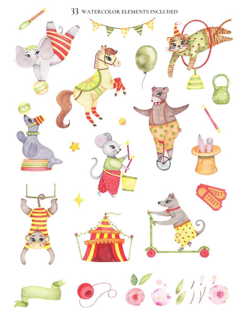 Circus Clipart Circus Invitation Png Watercolor Retro Etsy Animal Clipart Circus Invitations Doodle Illustration