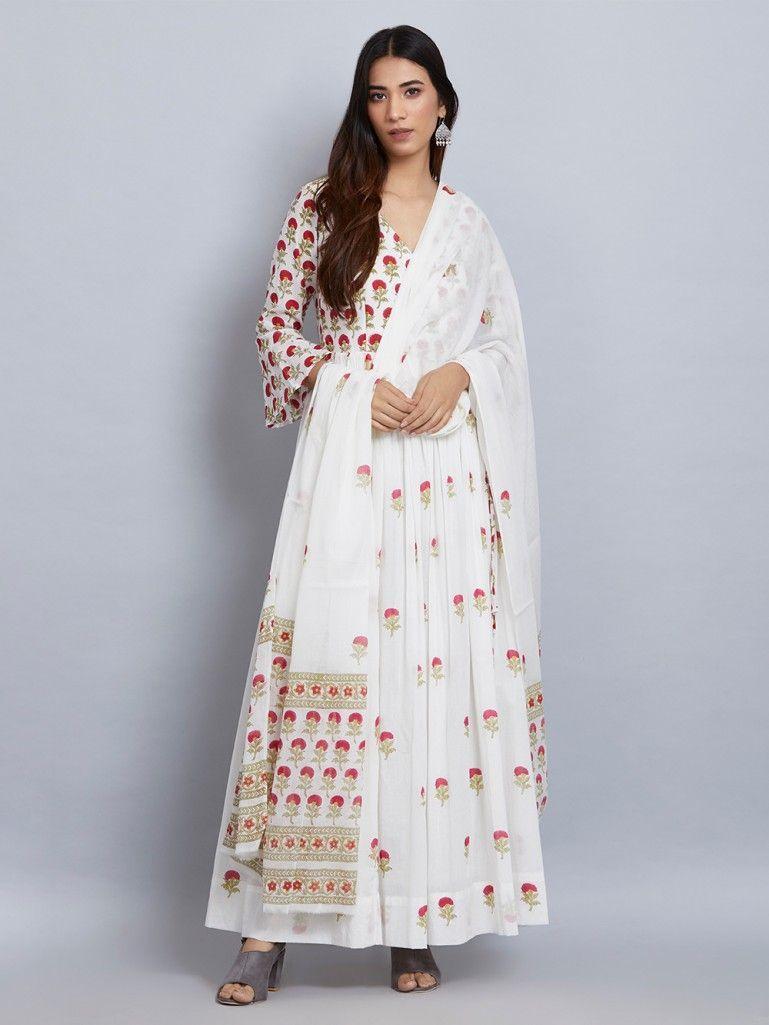 White Pink Flower Block Printed Mulmul Angrakha Dress with Dupatta- Set of 2 b9479b437