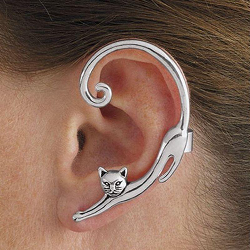 2 Pcs Skeleton Skull Ear Cuff Wrap Cartilage Earring Clip On Silver Bronze