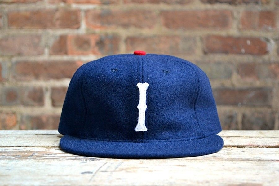 50b6cff7cb1 Ebbets Field Flannels Independence Hat Navy Wool with Red Button ...