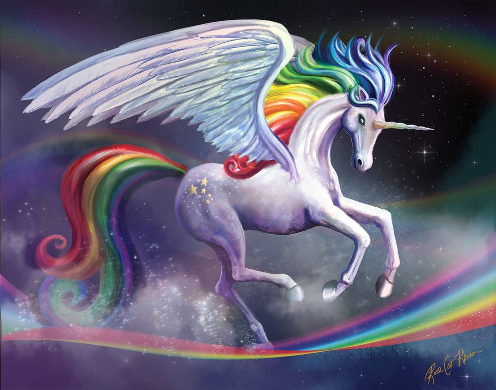 Rainbow Alicorn Unicorn Art