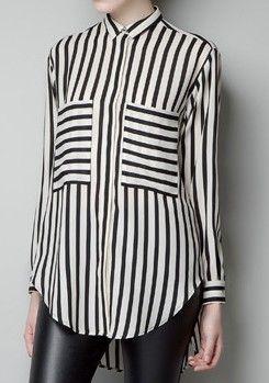84e2ebfb308a6d Black White Vertical Stripe Pockets Chiffon Blouse