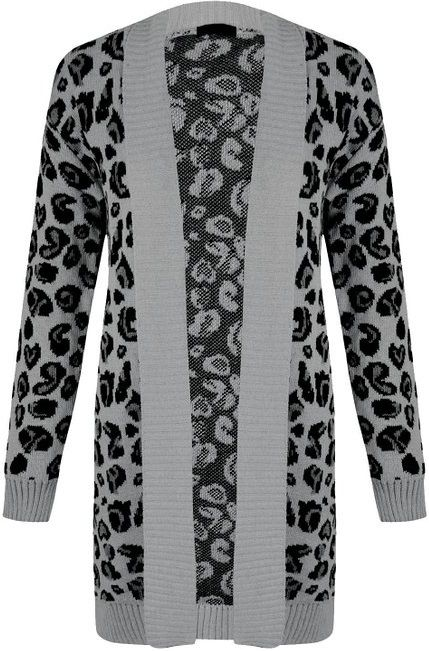 78f334b22dc FOREVER - LONG SLEEVES - KNITTED - STRETCHY - CARDIGAN -- LEOPARD PRINT    GREY