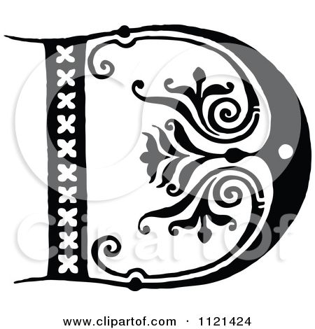 Clipart Of A Retro Vintage Black And White Letter D Royalty Free