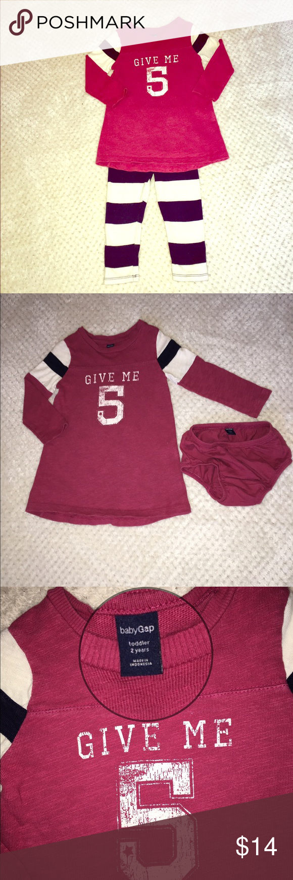 GAP Kids girls tunic top 2T Give me five! Hi-five your little princess in this adorable tunic-style long sleeve top by GAP Kids! 100% cotton so it's super soft. Comes with matching diaper cover/underwear cover. Muted red with white and navy stripes on sleeves. Can be worn alone or paired with leggings. GAP Shirts & Tops Tees - Long Sleeve