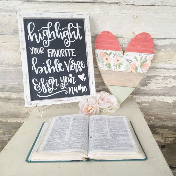 Novel Ideas For Wedding Reception: Wedding Guest Book Sign // Highlight Your Favorite Bible