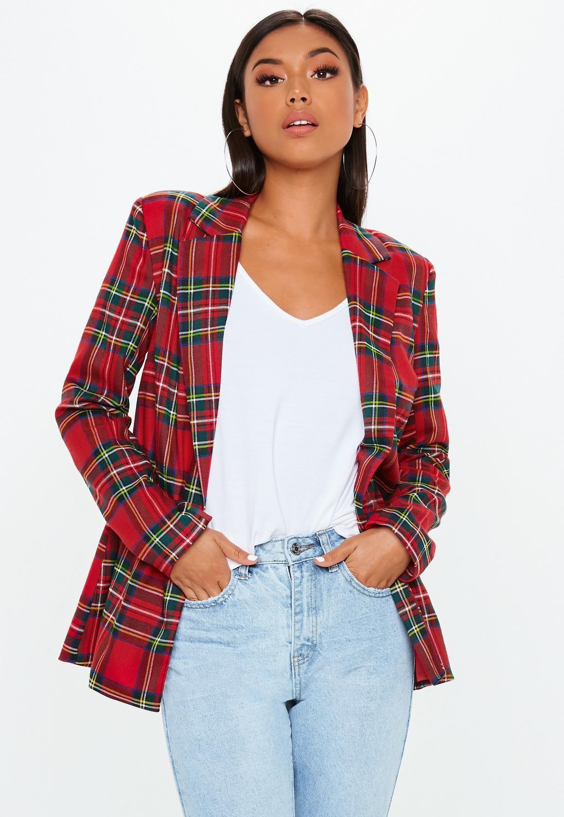 1eb88628e2f7 Red Plaid Oversized Blazer in 2019   MY PROJECT (BABY   Blazer ...