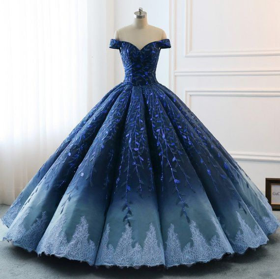 Robe de mariage : High Quality 2018 Modest Prom Dresses Ombre Royal Blue Wedding Evening Dress Gradient Blue Shade Sequin Women Formal Party Gown Bride Gown